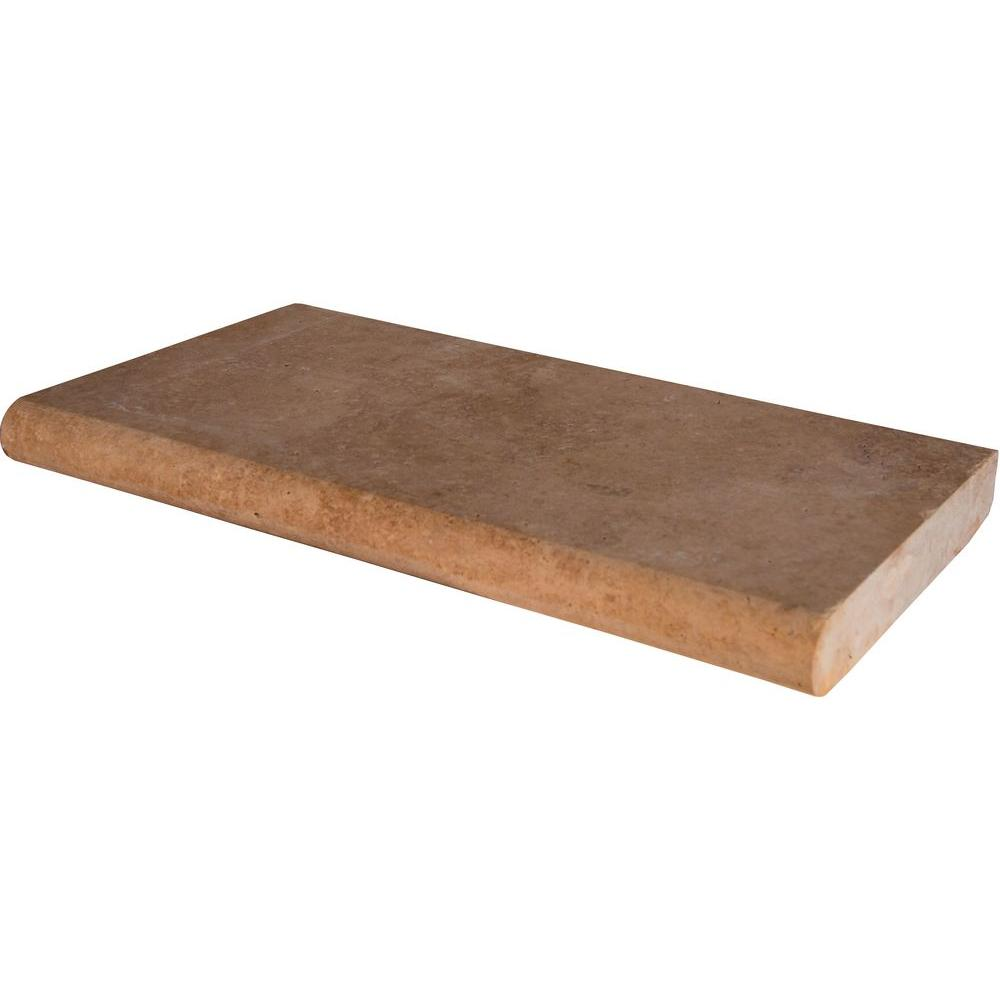 Mediterranean Walnut 12 in. x 24 in. Brushed Travertine Pool Coping