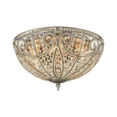 Elizabethan 6-Light Weathered Zinc LED Flush Mount
