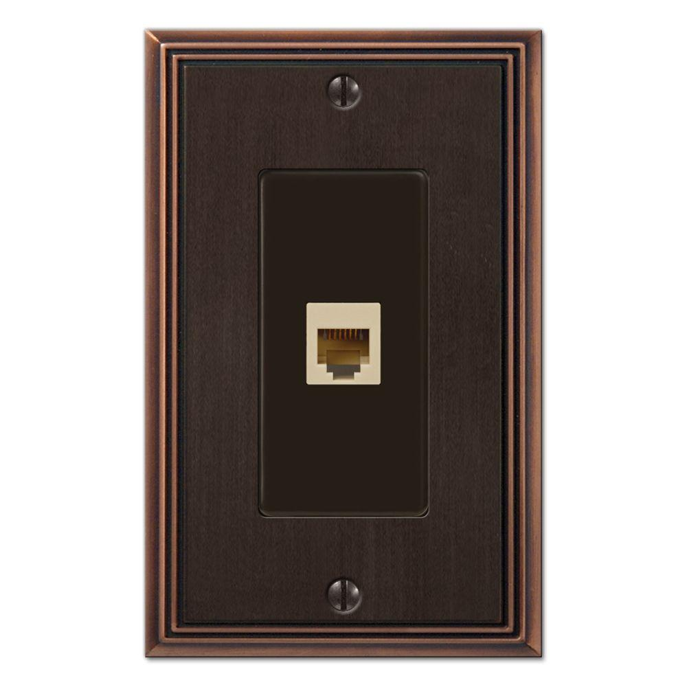 Creative Accents Metro Line 1 Phone Wall Plate - Antique Bronze-DISCONTINUED