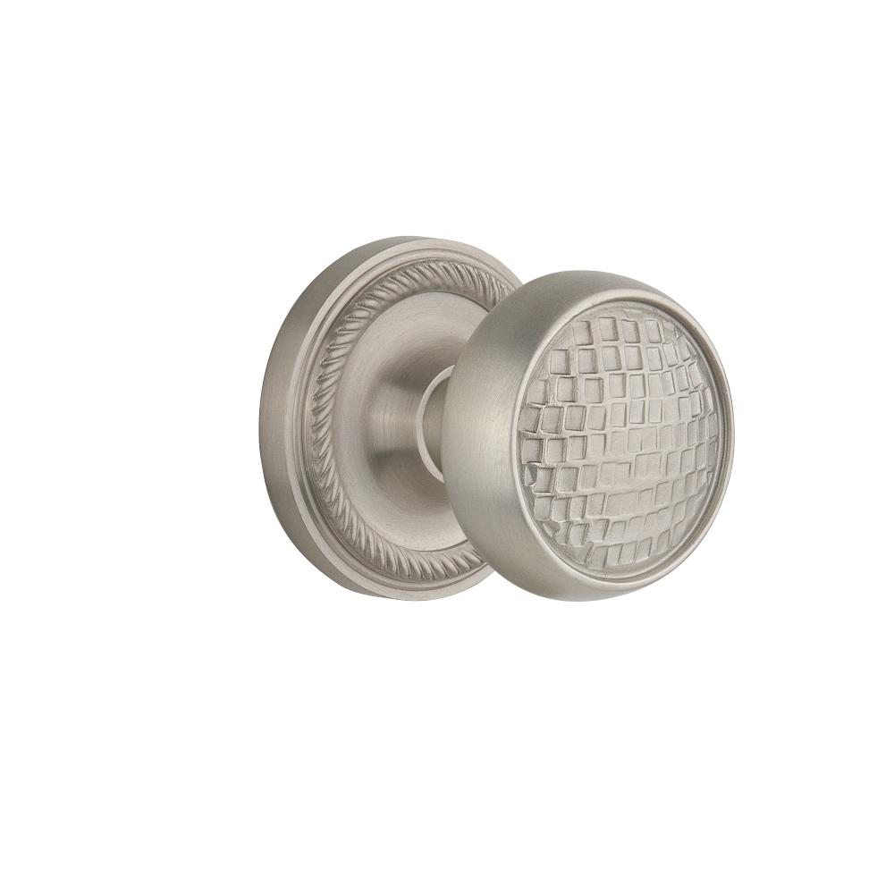 Nostalgic Warehouse Rope Rosette 2-3/4 in. Backset Satin Nickel Privacy Bed/Bath Craftsman Door Knob