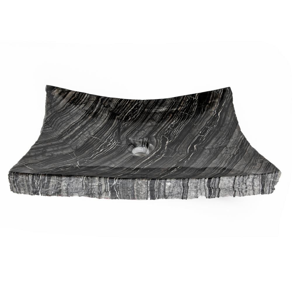 Large Zen Sink in Wooden Black Marble