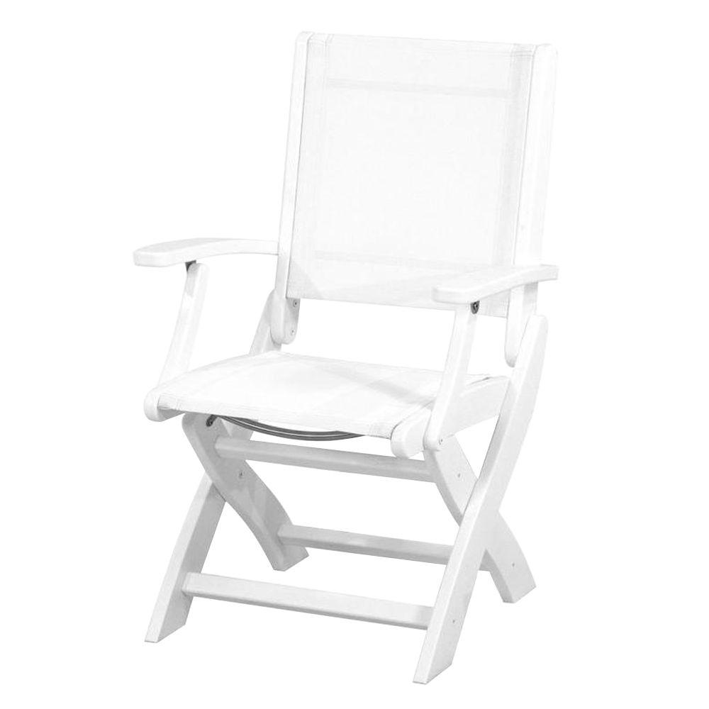 Polywood Coastal White Patio Folding Chair with White Sling