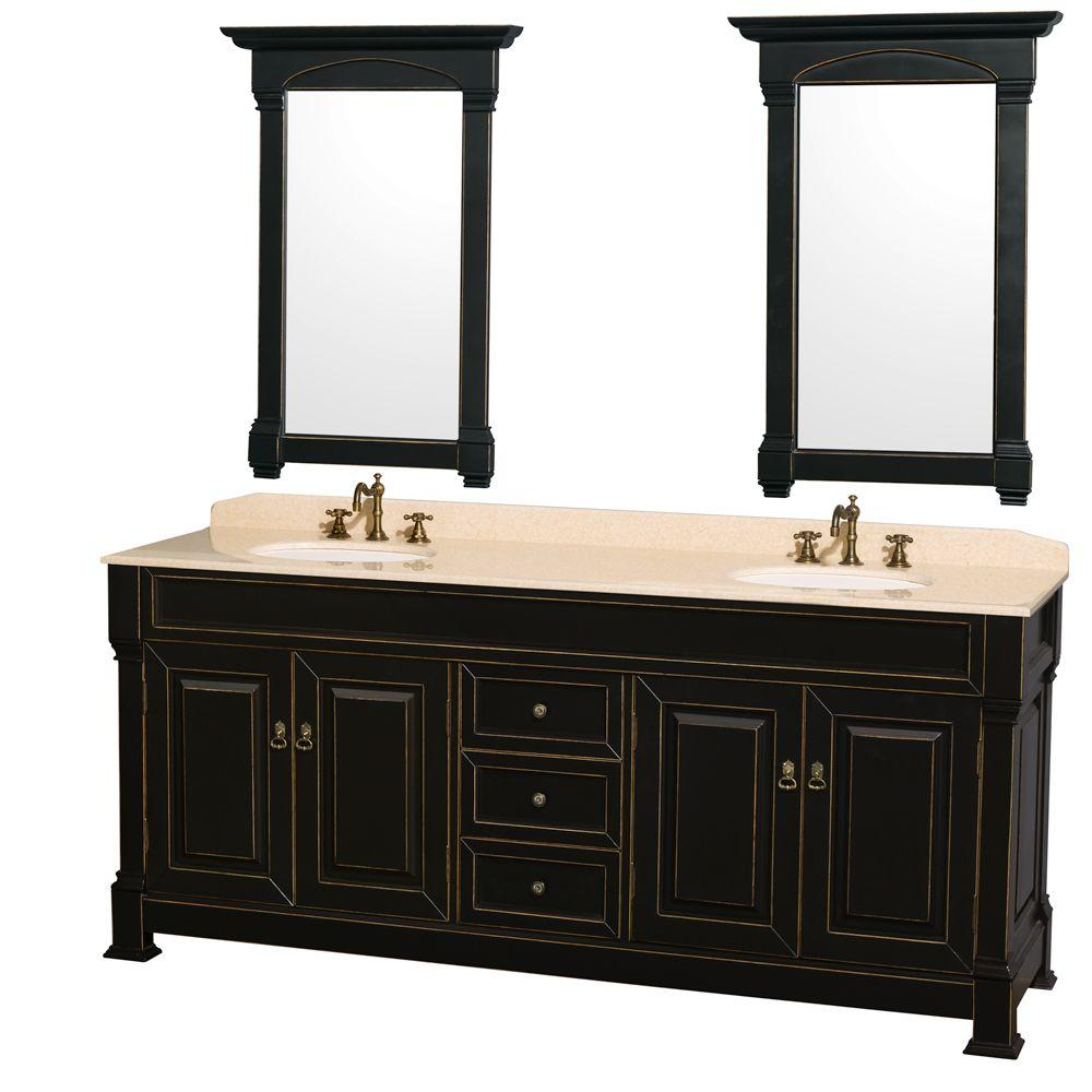Wyndham Collection Andover 80 in. Vanity in Black with Marble Vanity Top in Ivory with Porcelain Sink and Mirrors