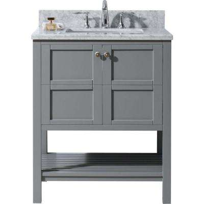 Winterfell 30 in. W Bath Vanity in Gray with Marble Vanity Top in White with Square Basin