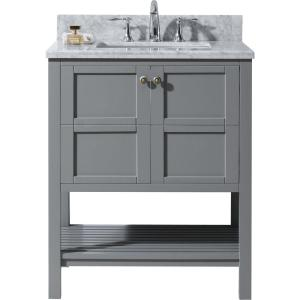 Virtu USA Winterfell 30 inch W x 22 inch D Vanity in Grey with Marble Vanity Top in White with White Basin by Virtu USA
