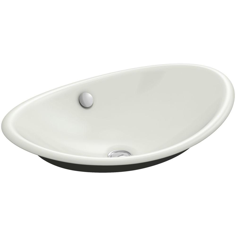 KOHLER Iron Plains Cast Iron Vessel Sink in Dune with Iron Black Painted Underside with Overflow Drain
