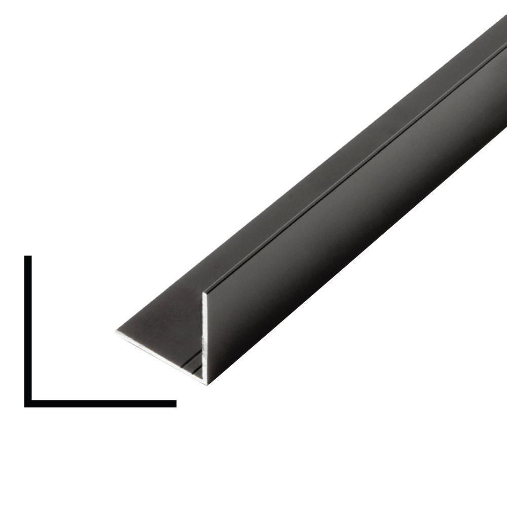 Alexandria Moulding 1 in. x 1 in. x 96 in. Metal Mira Black Outside Corner Moulding