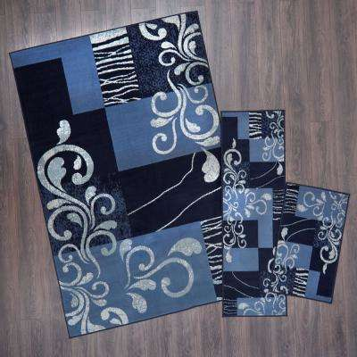 Ariana Blue 5 ft. x 7 ft. 3-Piece Rug Set