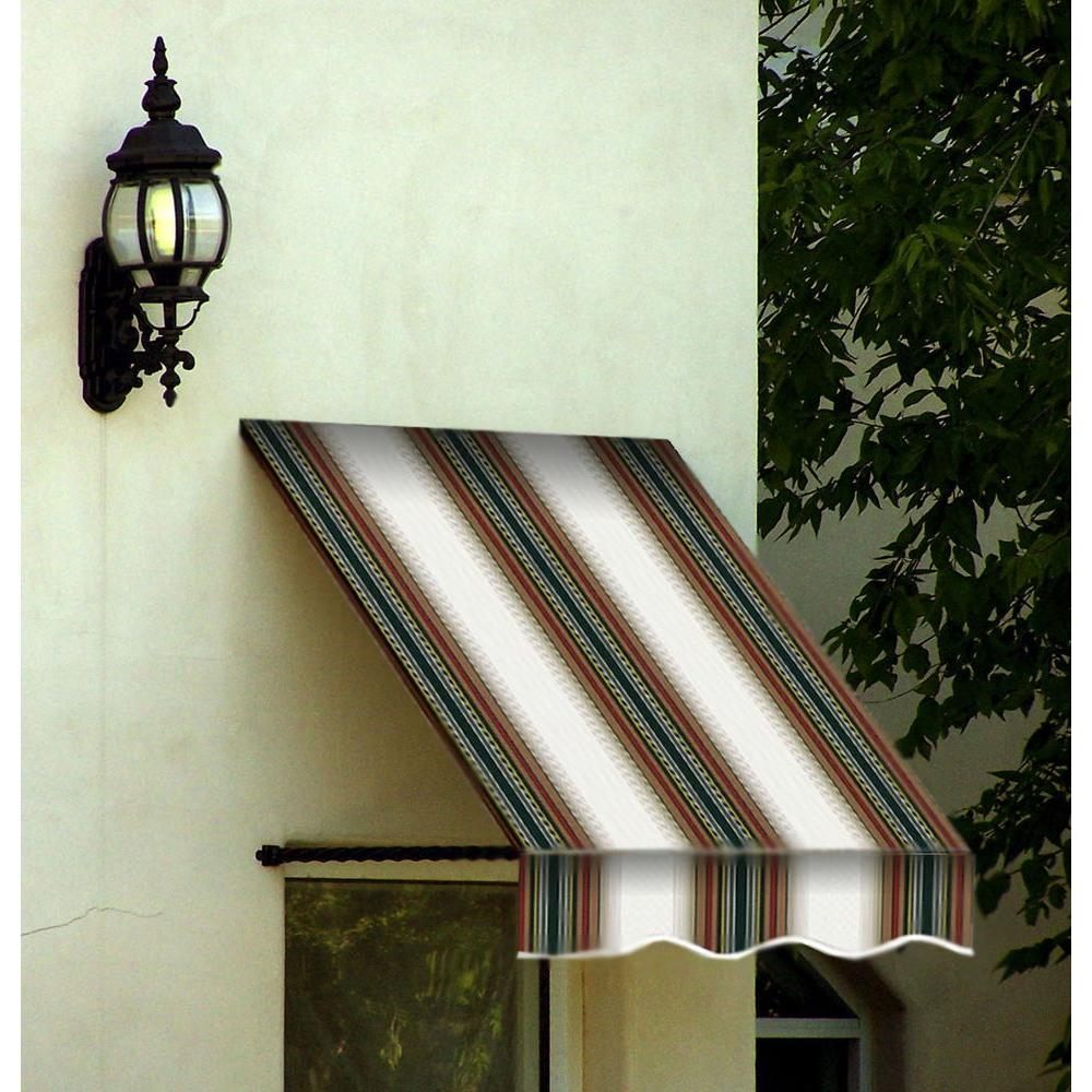 AWNTECH 14 ft. Santa Fe Twisted Rope Arm Window Awning (44 in. H x 24 in. D) in Burgundy/Forest/Tan Stripe