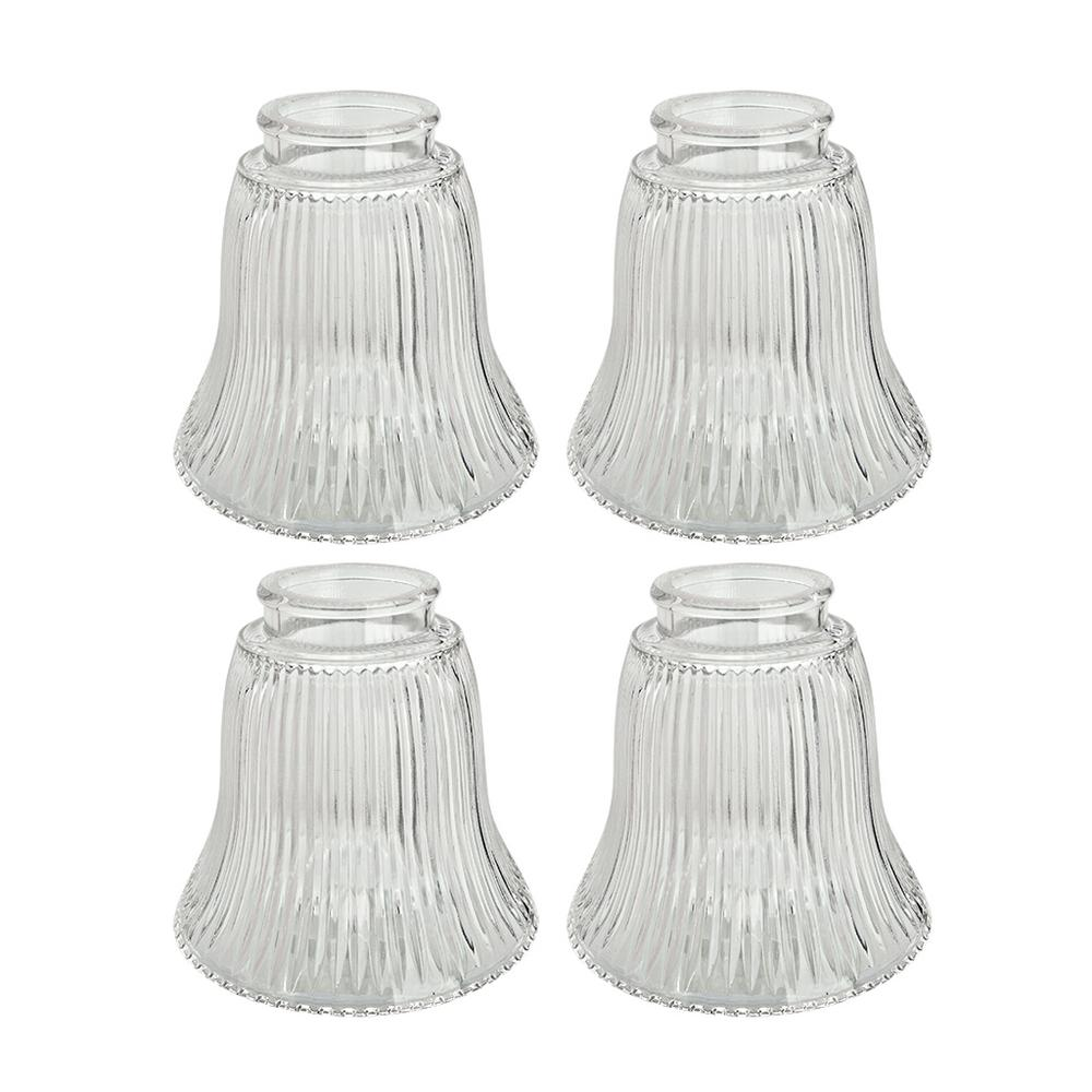 Clear ribbed bell shaped ceiling fan replacement glass shade 4 pack