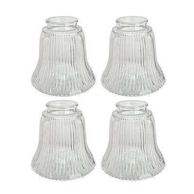 4-1/2 in. Clear Ribbed Bell Shaped Ceiling Fan Replacement Glass Shade (4-Pack)