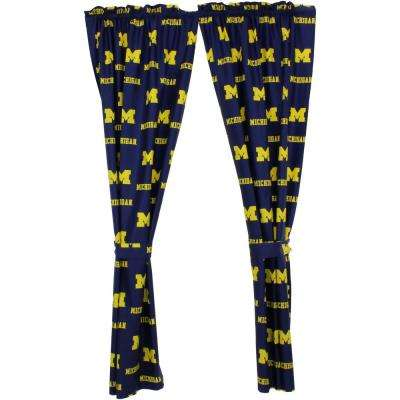 42 in. W x 84 in. L Michigan Wolverines Cotton With Tie Back Curtain in Blue   (2 Panels)
