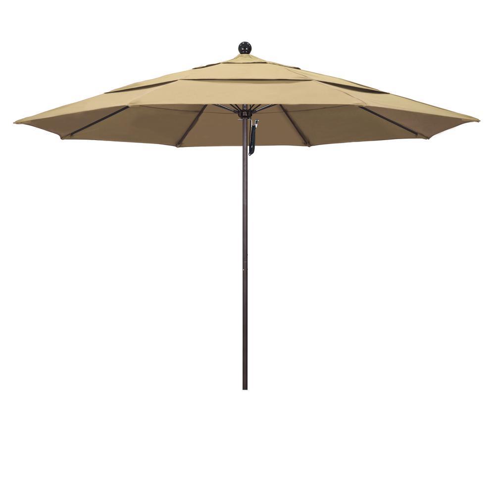 11 ft. Bronze Aluminum Market Fiberglass Ribs Pulley Lift Outdoor Patio Umbrella in Beige Pacifica