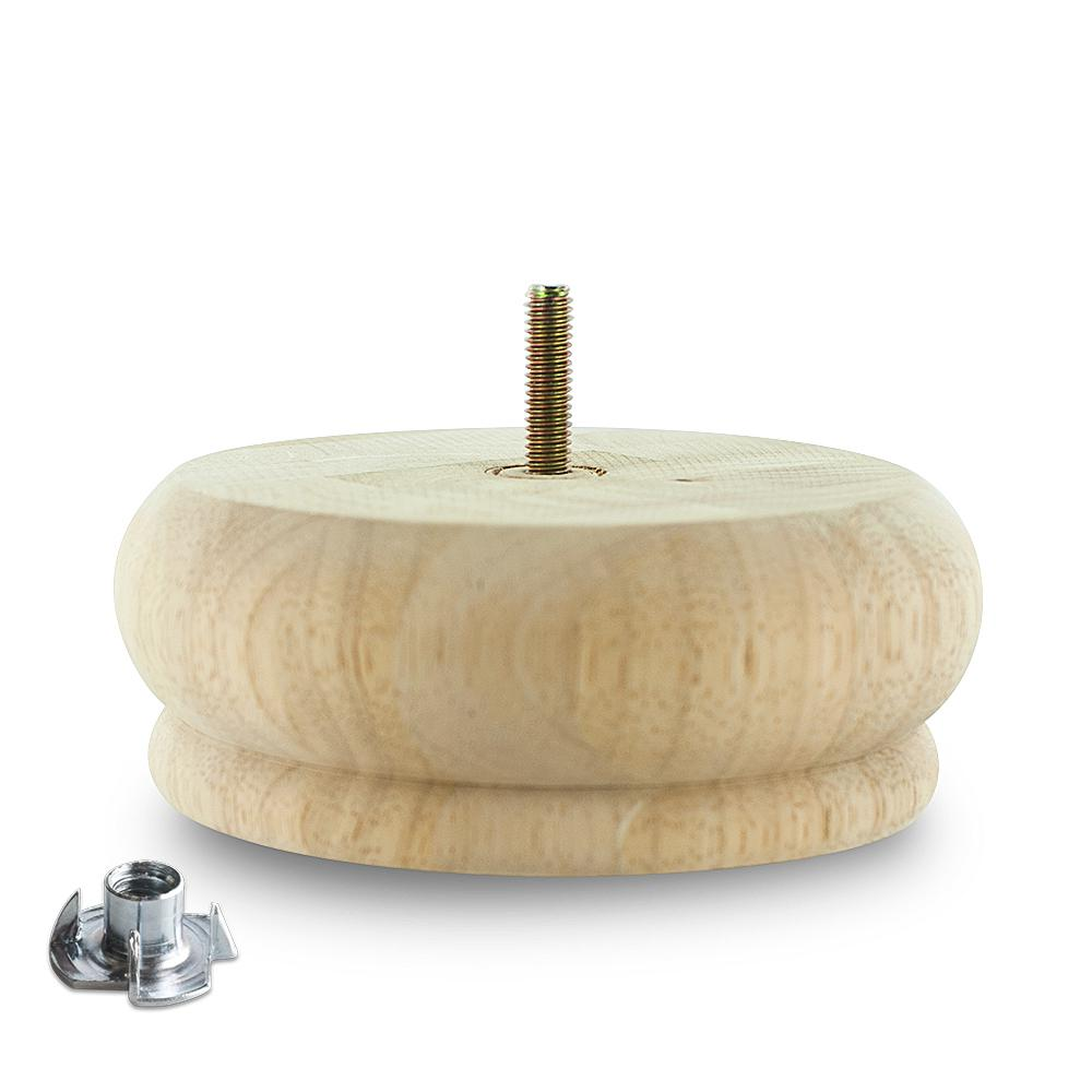 2 in. x 5-1/2 in. Unfinished Solid Hardwood Round Bun Foot