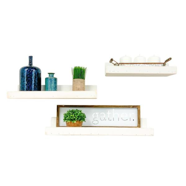 Del Hutson Designs Rustic Luxe 7 In Depth White Pine Wood Floating Decorative Wall Shelf Set Dhd2044wh The Home Depot