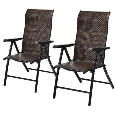 Folding Wicker Patio Recliner Back Adjustable Portable Camping Chair with Armrest (2-Pack)