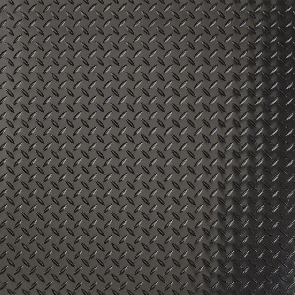 G-Floor Industrial Grade Polyvinyl 9 ft. x 60 ft. Diamond Tread Midnight Black Garage Floor Cover and Protector
