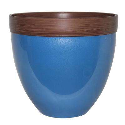 Devyn 14.5 in. Dia Sailor Blue Resin Planter