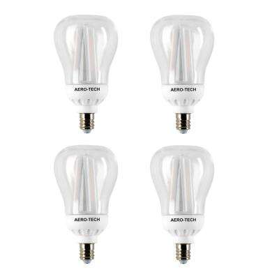 40-Watt Equivalent A15 Clear Candelabra Base 30,000 Hours LED Light Bulb Bright White (4-Pack)