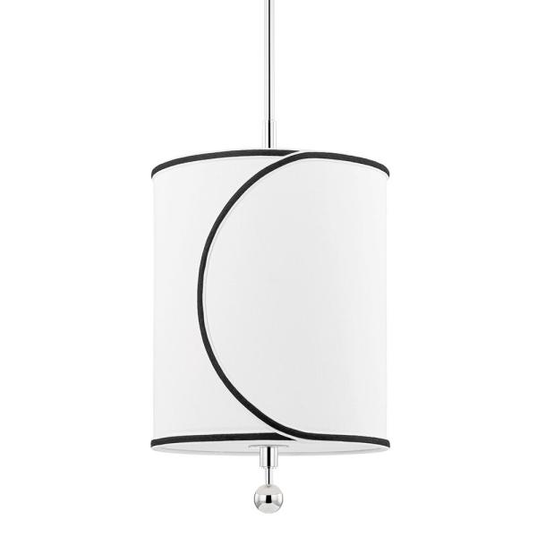 Zara 1-Light Polished Nickel Geometric Pendant with Fabric Shade