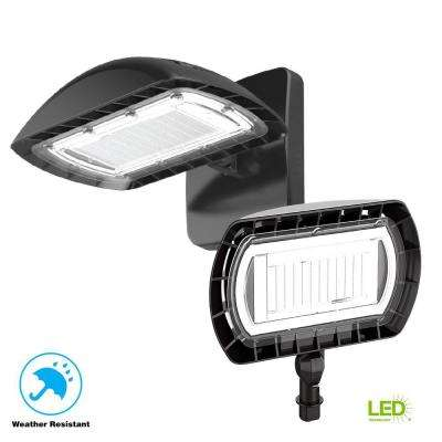 High-Output Dusk-to-Dawn Bronze Outdoor Integrated LED Floodlight with Wall Pack Mount 5500 Lumens and DLC-Rating