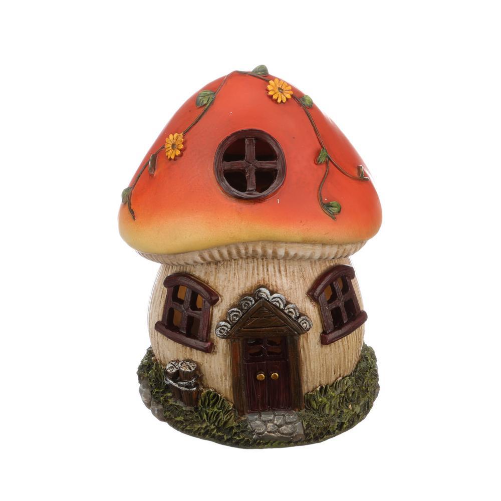 Moonrays Solar Powered Integrated LED Mushroom Gnome House Outdoor  Landscape Garden Light