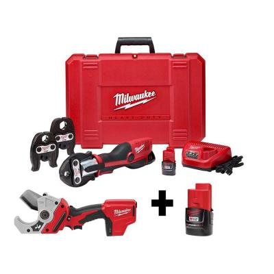 M12 12-Volt Lithium-Ion Force Logic Cordless Press Tool Kit (3 Jaws Included) with M12 PVC Pipe Shear and Extra Battery