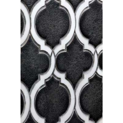 Oracle Arabesque Gunmetal 9-7/8 in. x 11-3/4 in. x 10mm Glazed Ceramic Mosaic Tile