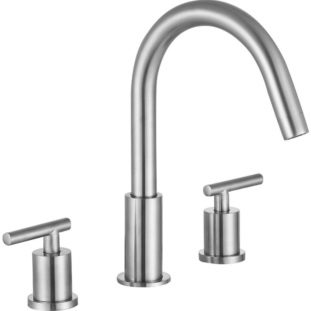 ANZZI Roman 8 in. Widespread 2-Handle Bathroom Faucet in Brushed Nickel