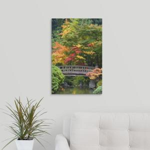 16 In X 24 In Oregon Portland Wooden Bridge Over Pond At Portland Japanese Garden By Don Paulson Canvas Wall Art