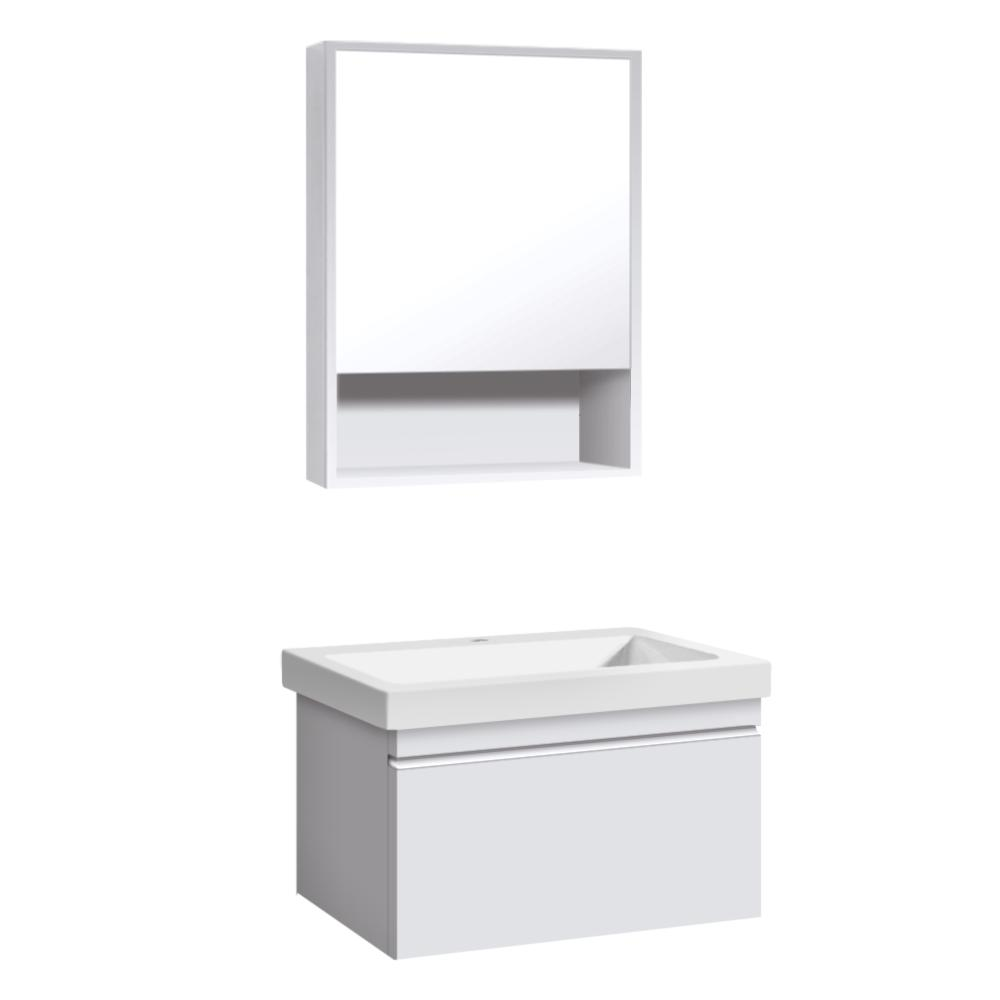 Garrido Bros  and Co  Christina Series 20 in  W x 18 in  D x 18 in  H  Vanity with Vitreous China Vanity Top in White and Mirror