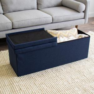 Awesome Humble Crew Blue 43 In Folding Storage Ottoman Bench With Ibusinesslaw Wood Chair Design Ideas Ibusinesslaworg
