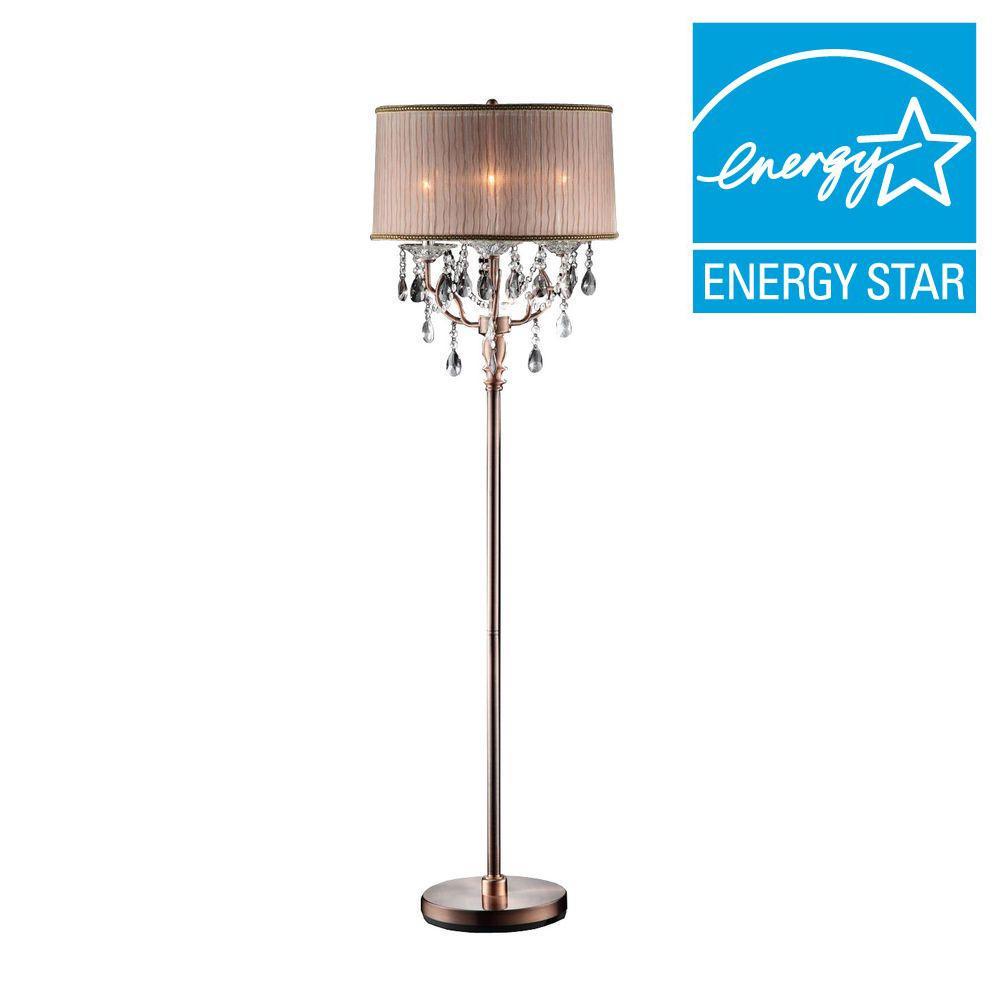 Pink Crystal Floor Lamps : Ore international in rosie crystal floor lamp k f the home depot