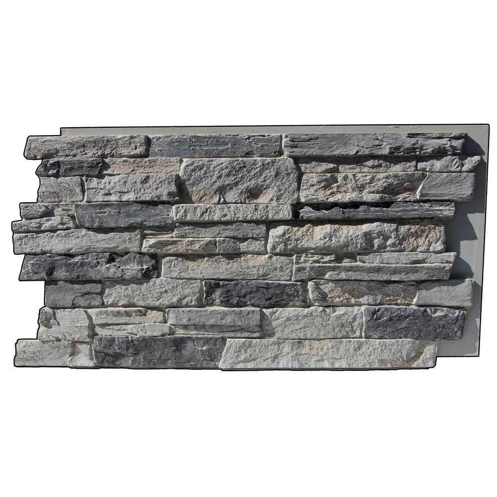 Superior Building Supplies Faux Mountain Ledge Stone 24-3/4 in. x 48-3/4 in. x 1-1/4 in. Panel Cliff Gray This faux stone sample is made from high-density polyurethane and allows you to create the natural look of real stone at a fraction of the price. Each stone has a unique interlocking system that allows for quick and easy installation, no grout required. The hand finished design is ideal for both indoor and outdoor applications. Color: Cliff Gray.