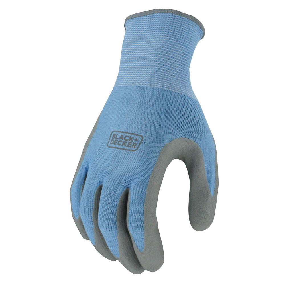 BLACK+DECKER Women's Small Blue Foam Nitrile Dip Glove