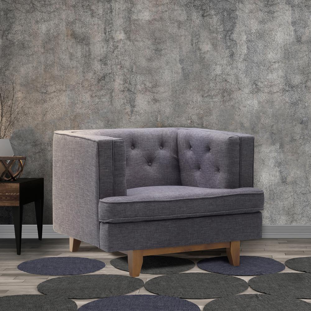 Groovy Todays Mentality Caroline Charcoal Fabric Tufted Sofa Chair Ibusinesslaw Wood Chair Design Ideas Ibusinesslaworg