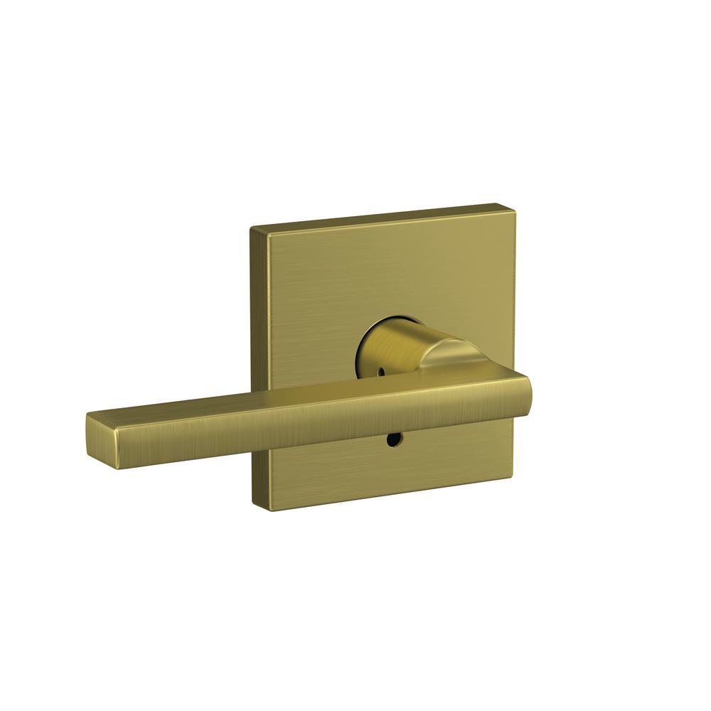 Schlage Custom Latitude Satin Brass Collins Trim Combined Interior Door  Lever