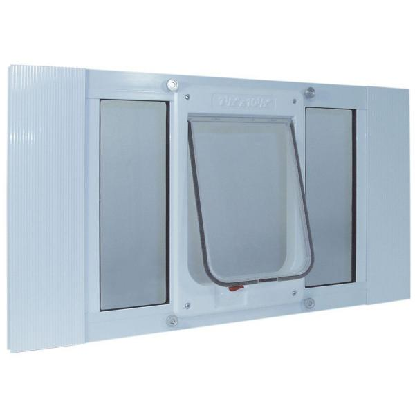 7.5 in. x 10.5 in. Large White Chubby Kat Pet Door Insert for 33 in. to 38 in. Wide Aluminum Sash Window
