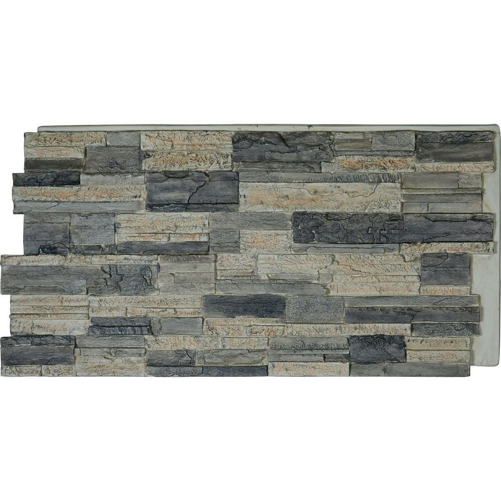 Ekena Millwork 48 in. x 24 in. Cascade Stacked Stone, StoneWall Faux Stone Siding Panel