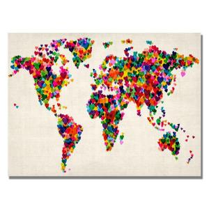 Trademark fine art 30 in x 47 in sponge painting world map canvas hearts world map canvas art gumiabroncs Images