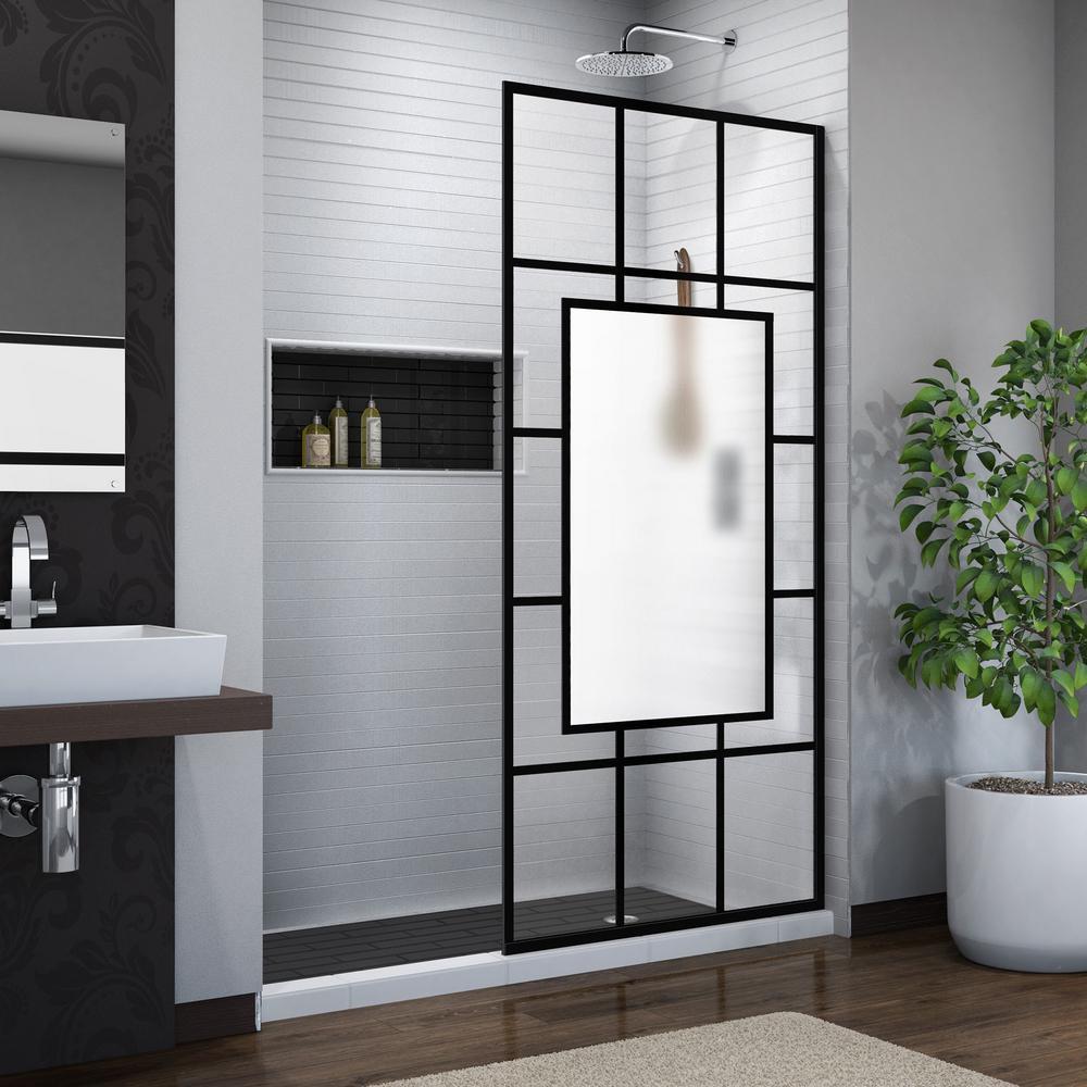 DreamLine French Linea Avignon 34 in. W x 72 in. H Frameless Fixed Shower Panel in Satin Black