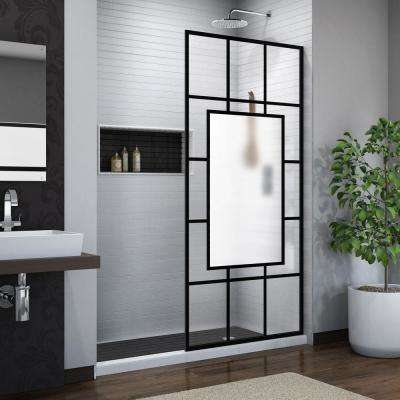 French Linea Avignon 34 in. W x 72 in. H Frameless Fixed Shower Screen in Satin Black