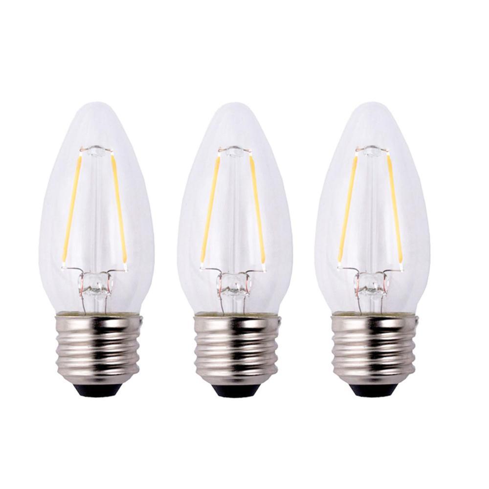 12-Pks. EcoSmart B11 Dimmable Filament Vintage Style LED Bulb (Clear)
