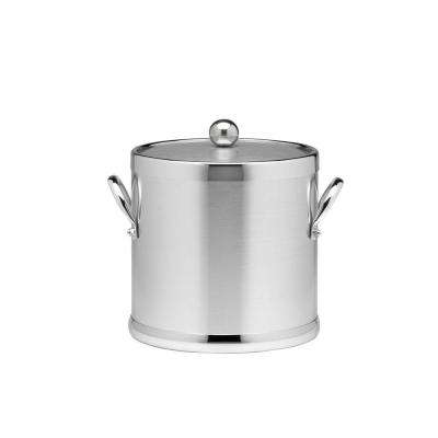Americano 3 Qt. Brushed Chrome Ice Bucket and Lid, Metal Side Handles
