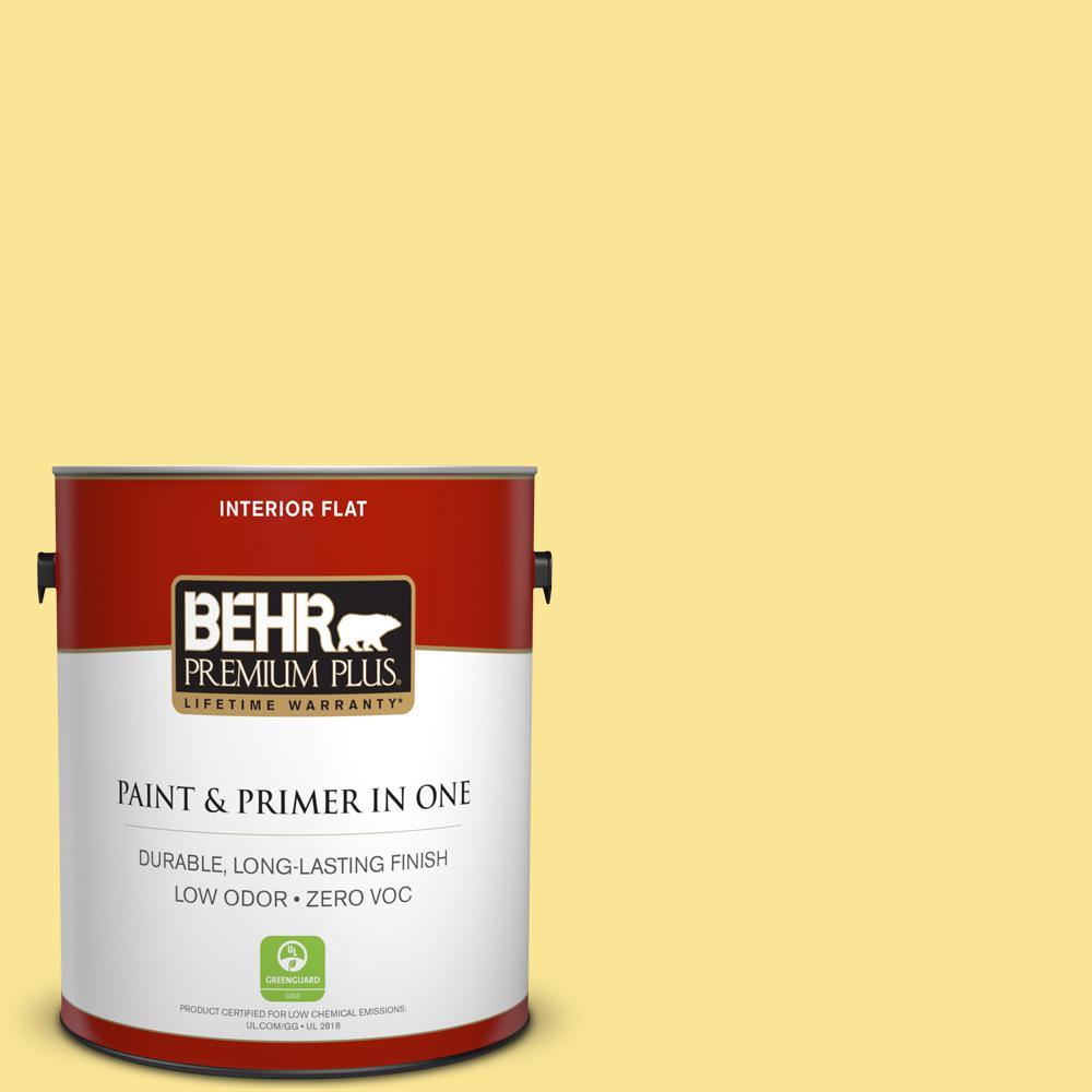 BEHR Premium Plus 1-gal. #390B-4 Chilled Lemonade Zero VOC Flat Interior Paint