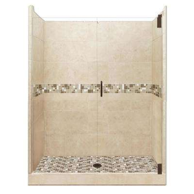 Tuscany Grand Hinged 42 in. x 60 in. x 80 in. Center Drain Alcove Shower Kit in Brown Sugar and Old Bronze Hardware