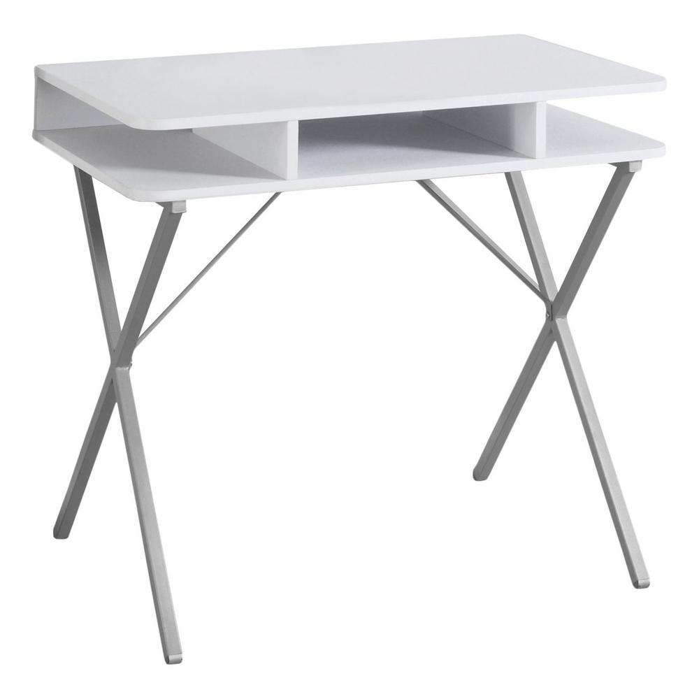 Jasmine 1-Piece White and Silver Computer Desk
