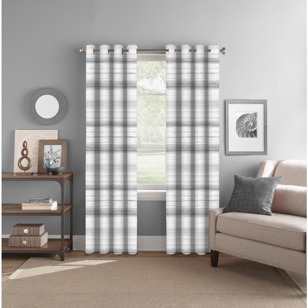 "Light Filtering Gradiant Stripe Grey/Neutral Rod Pocket/Back Tab Curtain Panel 52"" W x 84"" L"