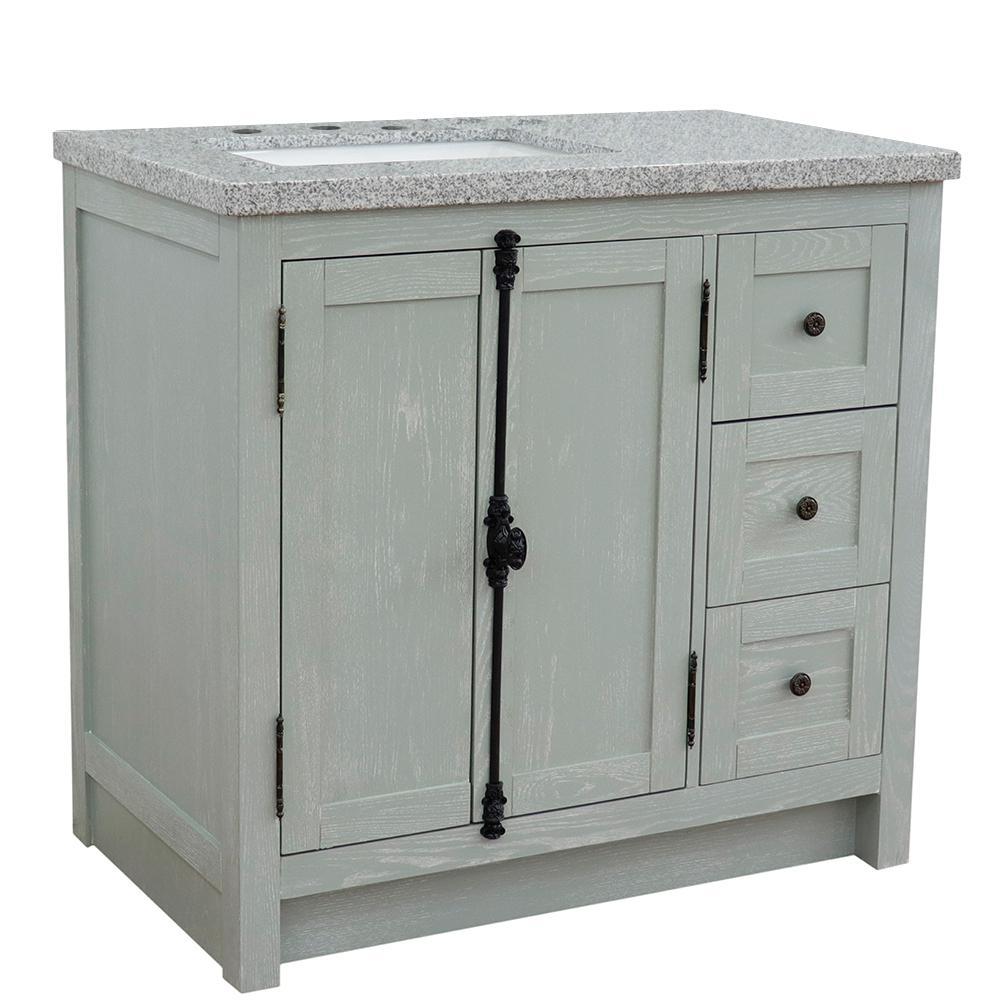37 in. W x 22 in. D x 36 in. H Bath Vanity in Gray Ash with Gray Granite Vanity Top and Left Side Rectangular Sink
