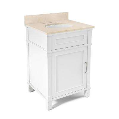 Williamsburg 25 in. W x 22 in. D Vanity in White with Marble Vanity Top in Beige with White Basin